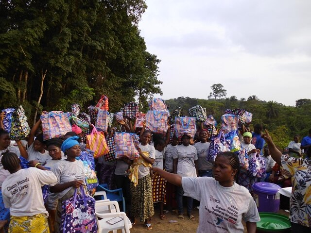 Beneficiaires receive three months supply of hygiene materials