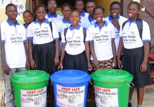 cross section of school health club members promoting hand washing
